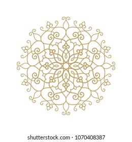 Circular pattern. Mandala. Round vintage vector floral ornament in Arabesque style.