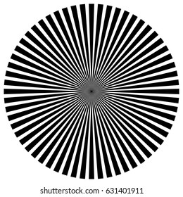 Circular pattern of radial, radiating lines. Monochrome starburst, sunburst element.
