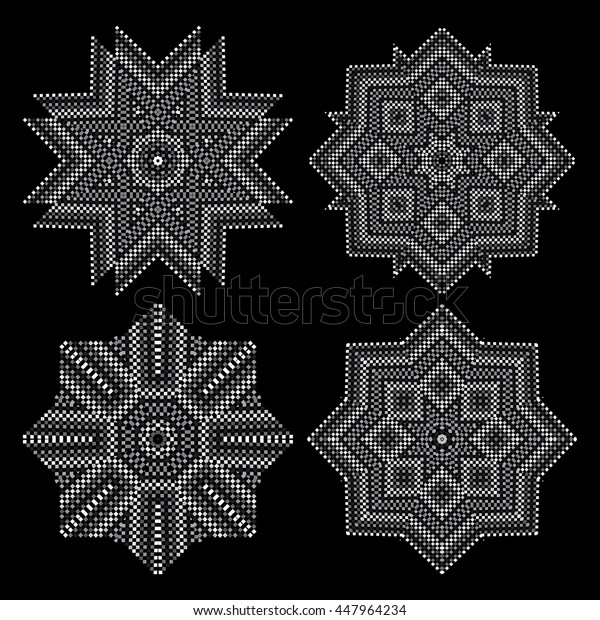 A circular pattern of small squares. Black-and-white drawing. No gradient. Set of 4 elements