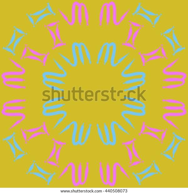 Circular pattern of zodiac signs, doodles,  object, gemini,scorpio, copy space. Hand drawn.