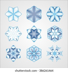 Circular patterns set. A set of monochrome mandalas. Round geometric ornaments set. Vector circular geometric ornament. Round pattern.