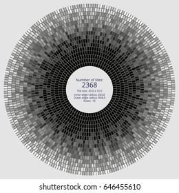 Circular paving tile pattern with a quantitative and dimensional description data. Vector pavers texture for landscaping, gardening, urban spaces, architecture, design, concrete molding, stencils