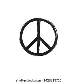 Circular peace sign. Hippie symbol black icon