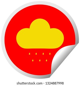 circular peeling sticker cartoon of a rain cloud