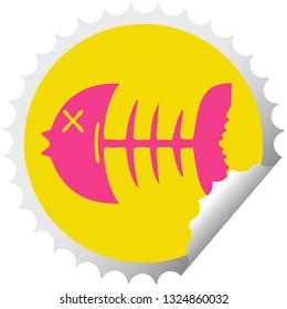circular peeling sticker quirky cartoon dead fish bone