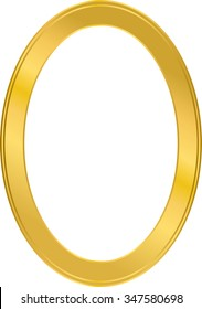 circular photo frame, metal gold, interior vector
