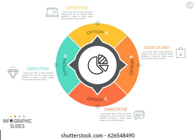 Circular pie chart divided into 4 sectors with arrows pointing at text boxes and linear icons. Minimal infographic design template. Four directions of company development concept. Vector illustration.