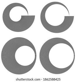 Circular radial lines volute, helix shape design element(s)