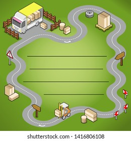 Circular road with truck, boxed goods and forklift (isometric vector, lines for own text)