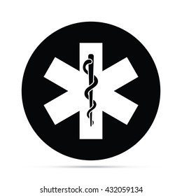 Circular Rod of Asclepius Snake & Staff Symbol Icon