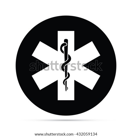 Circular Rod Asclepius Snake Staff Symbol Stock Vector Royalty Free