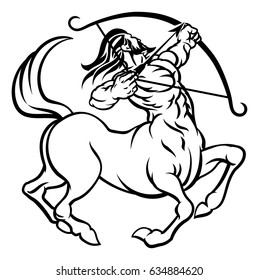 A circular Sagittarius archer centaur horoscope astrology zodiac sign icon