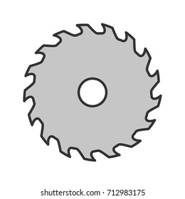 Circular saw blade color icon. Wheel blade. Isolated vector illustration