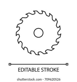 Circular saw blade linear icon. Thin line illustration. Wheel blade. Contour symbol. Vector isolated outline drawing. Editable stroke