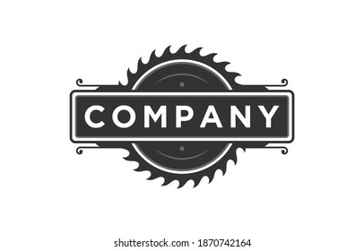 Circular saw blade logo design vintage emblem silhouette