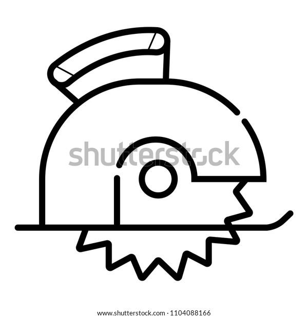 Circular saw cutting wooden plank linear icon.