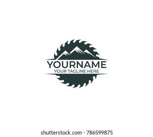 Circular Saw Disc for Cutting Wood and Mountains Logo Template. Joinery Vector Design. Construction Illustration