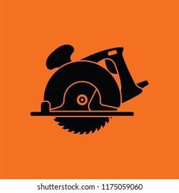 Circular saw icon. Orange background with black. Vector illustration.