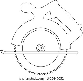Circular saw outline vector close up illustration isolated