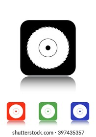 circular saw vector icon - black and colored buttons