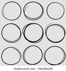 Circular scribble doodle round circles for message note mark design element