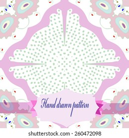 Circular  seamless pattern of colored floral motif, label. Hand drawn.