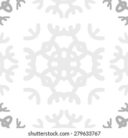 Circular  seamless pattern of  decorative motif, snowflakes,spots,star. Hand drawn.