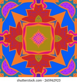 Circular seamless pattern of floral motif, leaves, zigzag, stamens. Hand drawn.