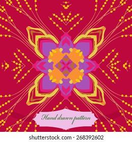 Circular seamless pattern of floral motif, label. Hand drawn.