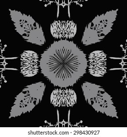 Circular seamless  pattern of floral motif,  spots, stripes, waves, hole ,branches. Hand drawn.