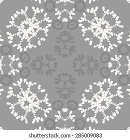 Circular  seamless pattern ot winter theme, snowflakes, hole,spots, stars. Hand drawn.