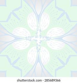 Circular  seamless pattern of  stylized flower, stamens, stripes, wave, cross. Hand drawn.