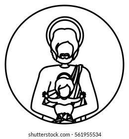 circular shape with contour half body saint joseph with baby jesus