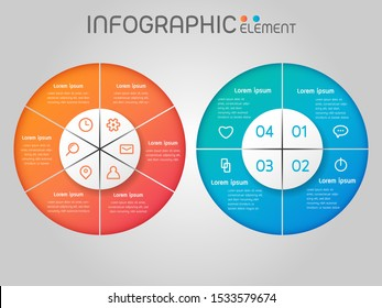 Circular shape elements of graph,diagram with steps,options,processes or workflow.Business data visualization. Creative element infographic template for presentation,vector illustration.