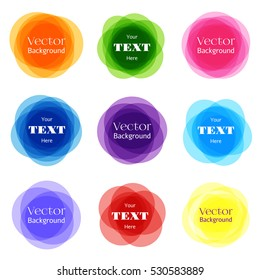 Circular shapes frame set. Vector rounded banner frames isolated on white background. Color round badges and illustration of round labels
