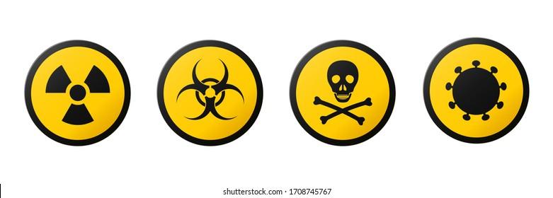 Circular signs of warnings of the danger : ionizing radiation, biological hazard, coronavirus, poison.