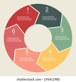 Circular Six Step info graphic illustration
