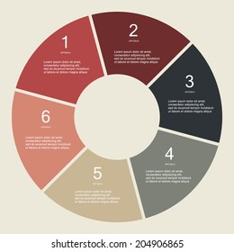 Circular Six step Info graphic for business project or presentation