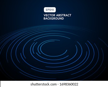 Circular Spiral lines, star trails on black background, abstract earth concept, technology concept background illustration
