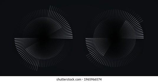 Circular spiral sound wave rhythm from lines white color on dark background.