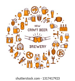 Circular style a large set of colorful icons on the topic of beer, its production and use in vector format with place for the text. Craft Beer pixel-perfect icons isolated on white background.