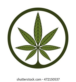 Circular stylized Marijuana leaf badge.