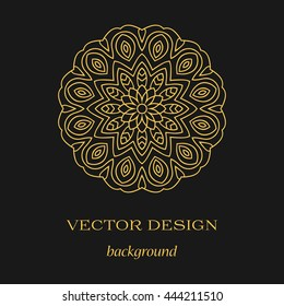 Circular symmetrical colored pattern on dark background. Vector gold mandala.