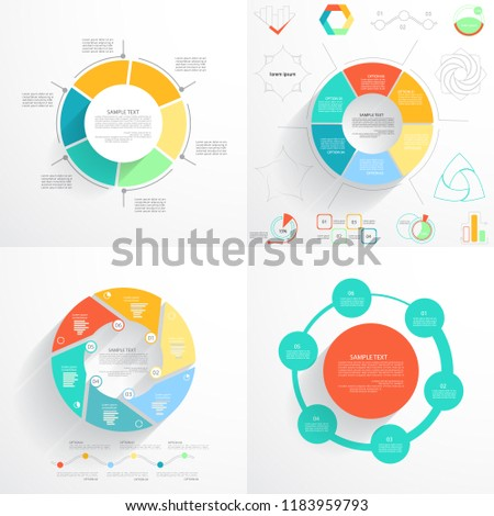 circular templates presentation charts graphs stock vector royalty