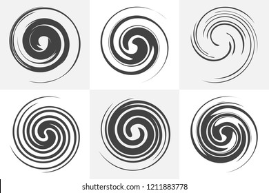 Circular twisted swirl elements of abstract liquid design. Black and white vector illustrations set. Smooth spiral forms. Rotation and mixing liquid in the cup. Collection of circular motion elements.
