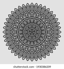 Circular vector black and white pattern