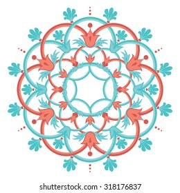 A circular vector design featuring interlocked rings and acanthus leaf elements.