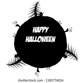 Circular vector frame with Happy Halloween text