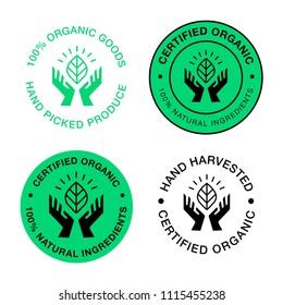 Circular vector logo. Hands holding a leaf symbol. Natural, organic, eco, farm, fresh, icon.