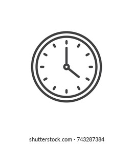 Circular wall clock line icon, outline vector sign, linear style pictogram isolated on white. Symbol, logo illustration. Editable stroke